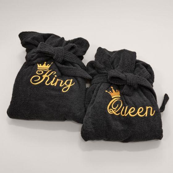 Coppia Accappatoio Spugna Nero Queen King