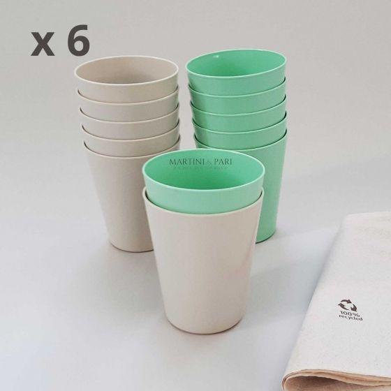 Set 6 Bicchieri Plastica Dura Riutilizzabili 330 cc