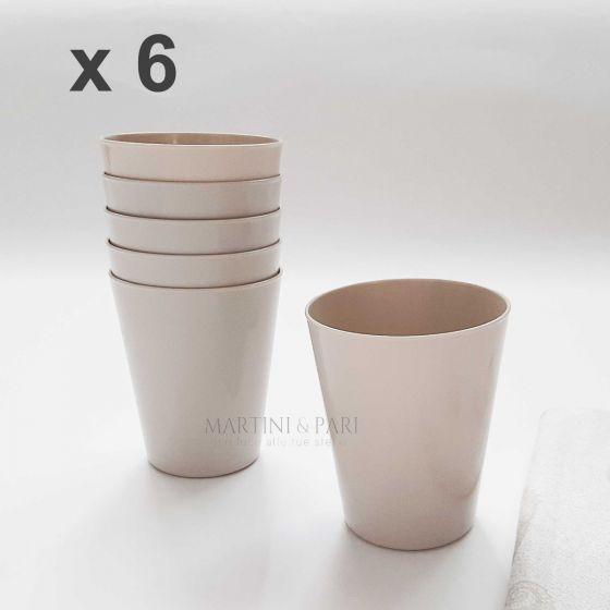 Bicchieri Plastica Dura 330cc Tortora (6 pz) Mineral