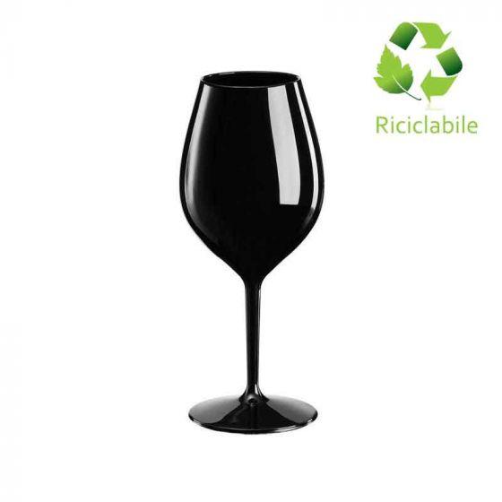 Calice Wine Cocktail, Tritan Riutilizzabile, Riciclabile, Infrangibile, Redone 510 cc Nero (Cartone da 6 pz)