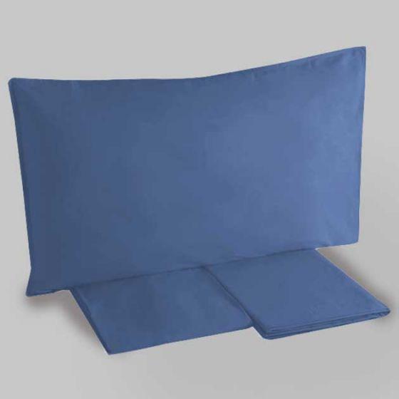 Sacco Copripiumino Tinta unita Blu Cotone 100% Federa inclusa