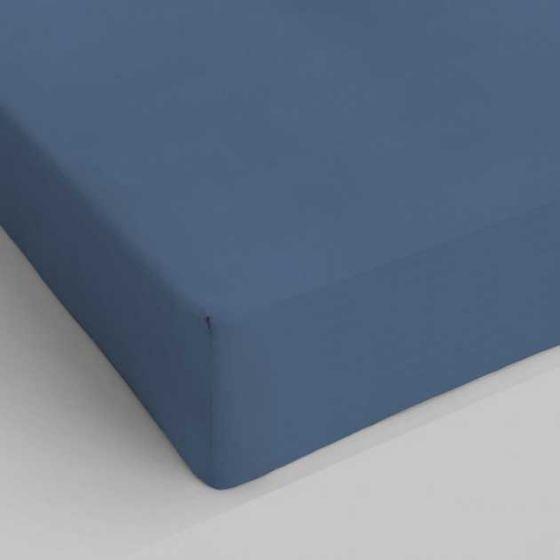 Lenzuolo sotto con angoli elastici Singolo Cotone Blu