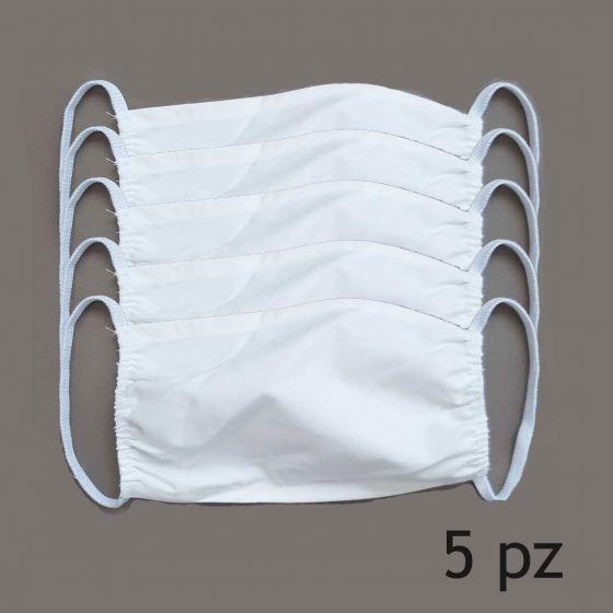 5 Mascherine 100% Cotone Impermeabile