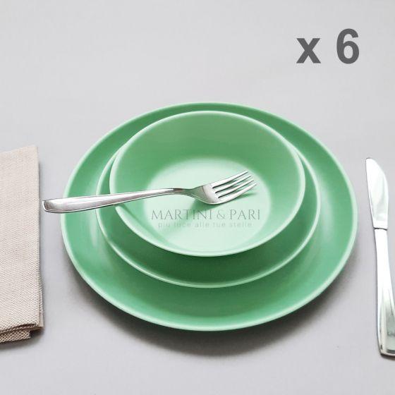 Piatti Plastica Rigida Riutilizzabili Colore Verde (18 Pz) Set 6 Persone