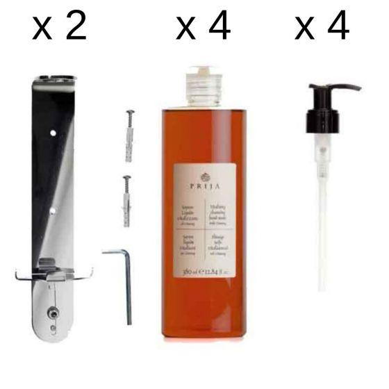 Kit Cortesia Completo di Staffa Acciaio + Sapone Liquido + Bagno Doccia + Dosatore Pompa (10 pz)