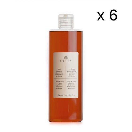 Ricarica Shampoo Doccia Prija al Ginseng Flacone da 380 ml (Cartone da 6 pz)