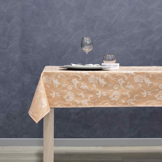 Tovaglia Cotone 150 x 150 Jacquard Tinto in Filo IDH Salmone Melania