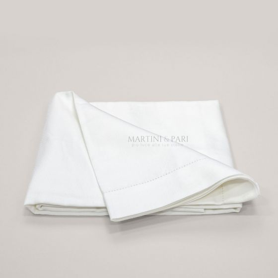 Tovaglia in Lino 50 Colore Bianco Orlo A Giorno 5 cm