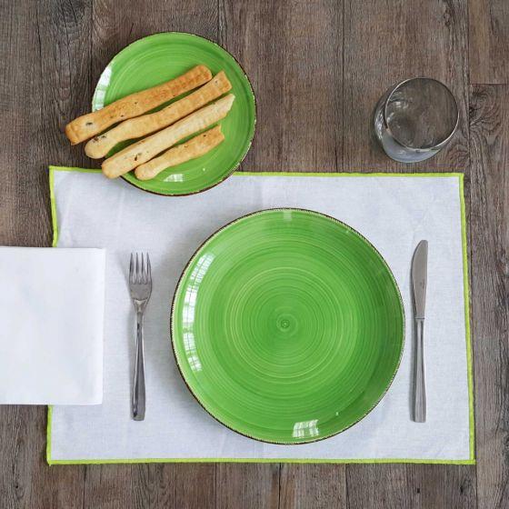 Tovaglietta Americana Antimacchia Lino Resinato 35 x 48 Bianco/Verde Mela
