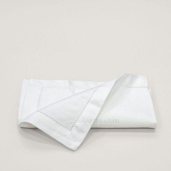 Tovagliolo Misto Lino Bianco 50 x 50 Orlo A Giorno 3 cm
