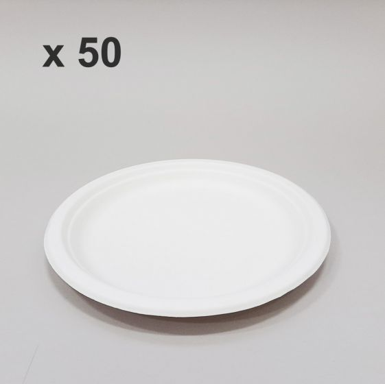 Piatto Piano Compostabile Biodegradabile Ø 23 cm (50 pz)