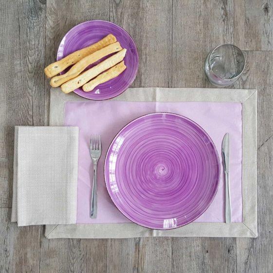 Tovaglietta Americana Antimacchia 35 x 50 Puro Lino Teflonato Rosa Antico