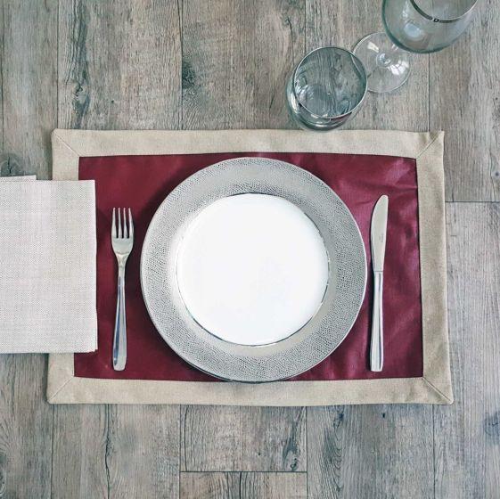 Tovaglietta Americana Antimacchia 35 x 50 Puro Lino Teflonato Vino/Naturale