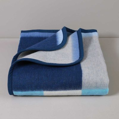 Coperta Jacquard Misto Lana 400 gr, Azzurro