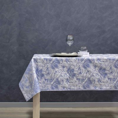 Tovaglia Cotone Jacquard Azzurro Tinto in FIlo IDH Aida
